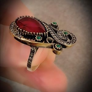 Decadent Man Ruby Emerald Sterling Silver Ring 7.5